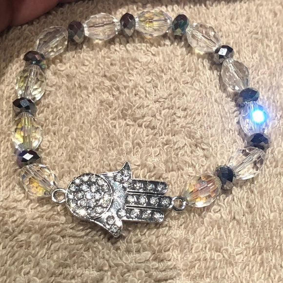Jewelry - Glass hamsa bracelet